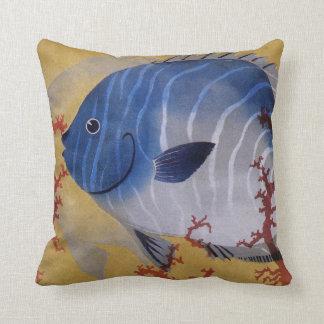 Vintage Marine Ocean Life Tropical Blue Fish Coral Throw Pillow