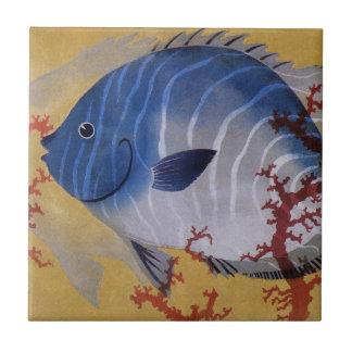 Vintage Marine Ocean Life Tropical Blue Fish Coral Tile