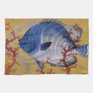 Vintage Marine Ocean Life Tropical Blue Fish Coral Towel