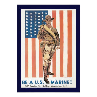 Vintage Marine Recruiting Poster 5x7 Paper Invitation Card
