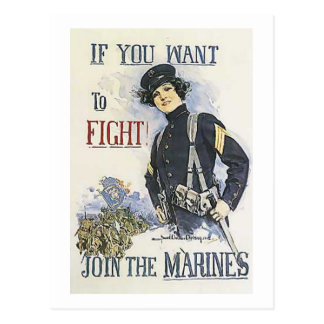 Vintage  Marine Recruiting Poster for Women Postcard