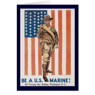 Vintage Marine Recruiting Poster Greeting Card