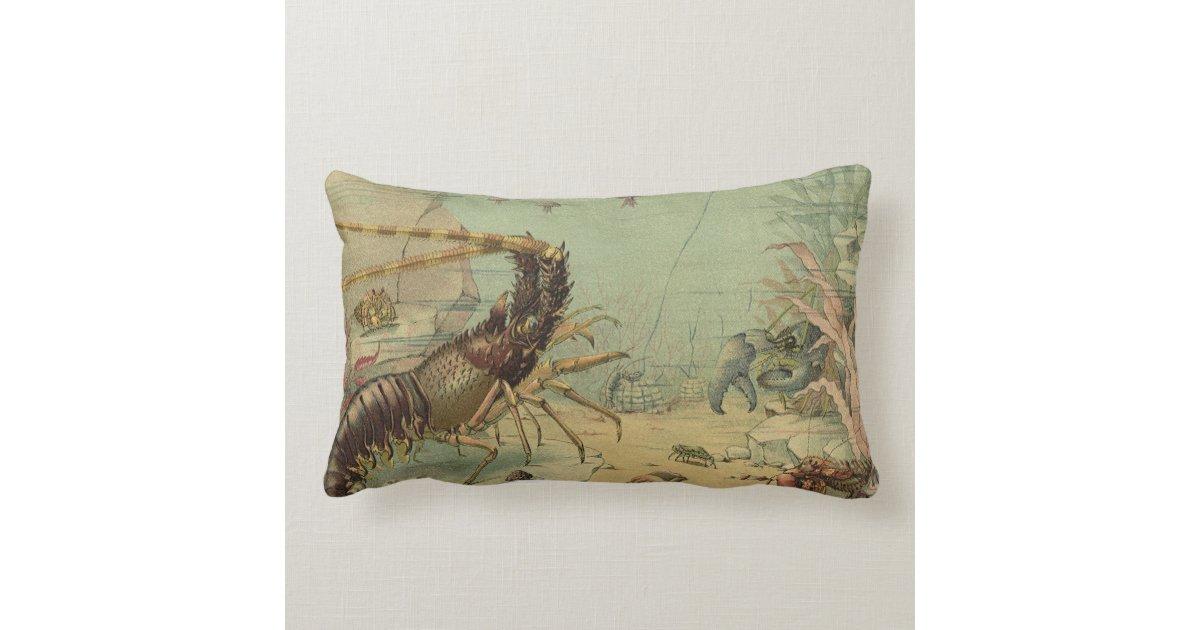 Ocean Animal Pillows : Vintage Marine Sea Life Animals in the Ocean Pillow Zazzle
