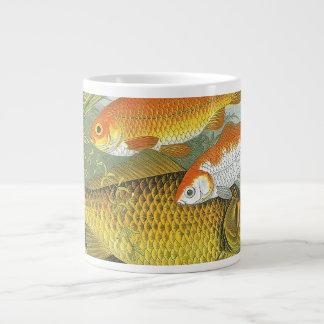 Vintage Marine Sea Life Fish, Aquatic Goldfish Koi Large Coffee Mug