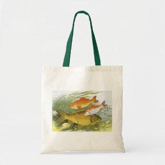 Vintage Marine Sea Life Fish, Aquatic Goldfish Koi Tote Bag