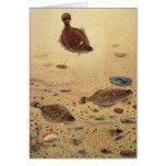 Vintage Marine Sea Life, Trio Flat Fish Flounders Greeting Card