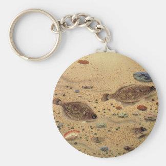 Vintage Marine Sea Life Trio Flat Fish Flounders Keychain