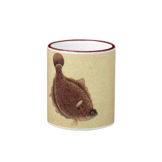 Vintage Marine Sea Life, Trio Flat Fish Flounders Ringer Coffee Mug