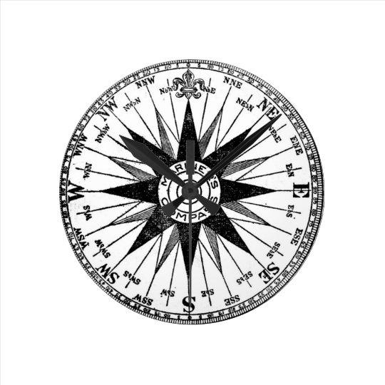 Vintage Mariner's Compass Rose medium clock