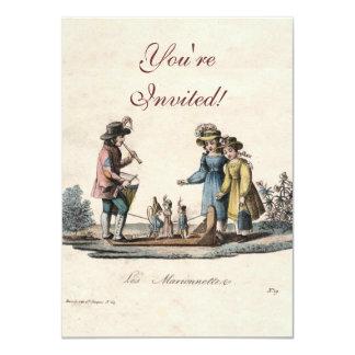 Vintage Marionette Puppet Show 4.5x6.25 Paper Invitation Card