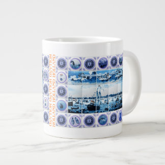 Vintage Maritime Holland Delftware Style Amsterdam 20 Oz Large Ceramic Coffee Mug