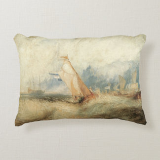Vintage Maritime Ship Seascape by Joseph Turner Accent Pillow