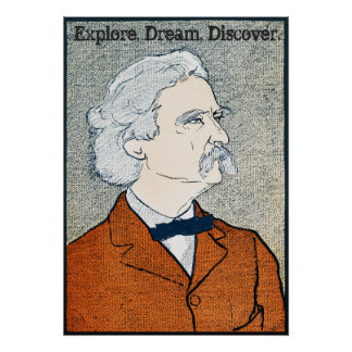 Vintage Mark Twain - Explore. Dream. Discover. Poster