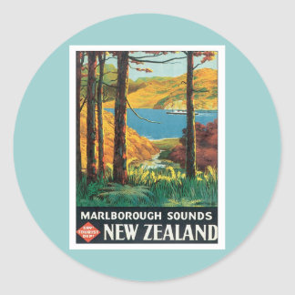 Vintage Marlborough Sounds New Zealand Classic Round Sticker