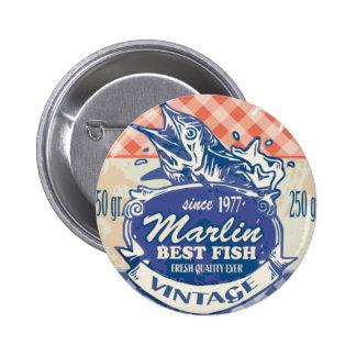 Vintage Marlin Best Fish Pinback Buttons