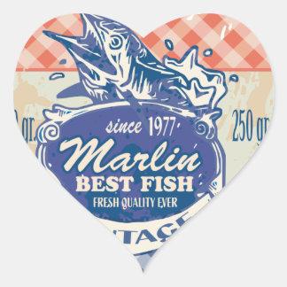 Vintage Marlin Best Fish Heart Sticker