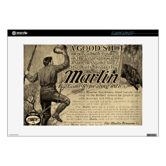 "Vintage Marlin Firearms Good Shot Ad Computer Skin 15"" Laptop Decals"