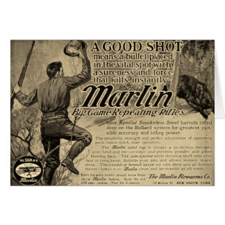 Vintage Marlin Firearms Good Shot Ad Greeting Card