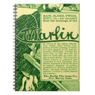 Vintage Marlin Firearms Green Ad Notebook Journal
