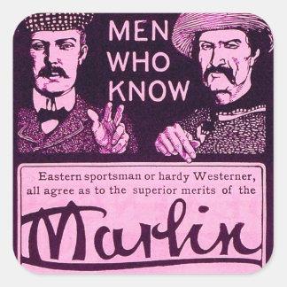 Vintage Marlin Firearms Purple Gun Ad Sticker Set