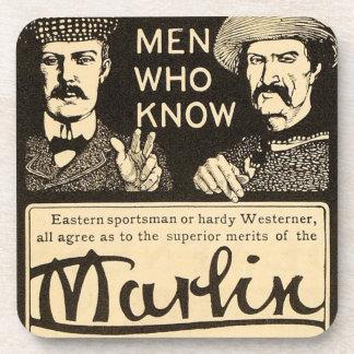 Vintage Marlin Firearms Rifle Gun Ad Drink Coaster