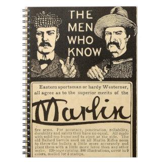Vintage Marlin Firearms Rifle Gun Ad Notebook