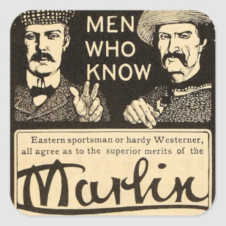 Vintage Marlin Firearms Rifle Gun Ad Sticker Set