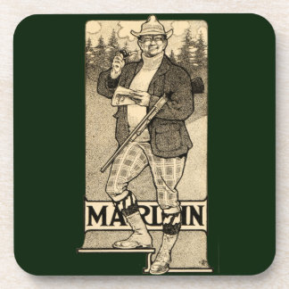 Vintage Marlin Firearms Shotgun Ad Drink Coasters