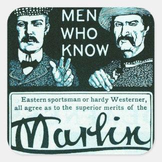 Vintage Marlin Firearms Teal Gun Ad Sticker Set