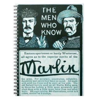 Vintage Marlin Firearms Teal Rifle Gun Ad Notebook