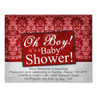"Vintage Maroon Damask Baby Shower 4.25"" X 5.5"" Invitation Card"