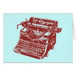 Vintage Maroon Typewriter Greeting Card