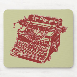 Vintage Maroon Typewriter Mouse Pad