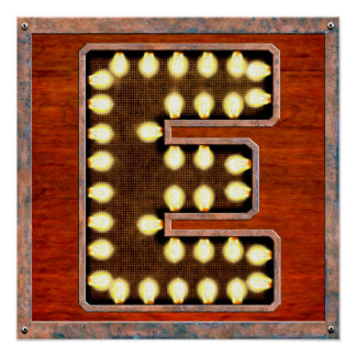 Vintage Marquee Letter E Lighted Sign