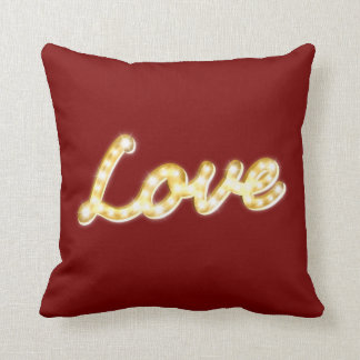 Vintage Marquee Lights Love Cushion - red