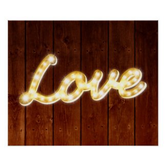 Vintage Marquee Lights Love Poster - barn board