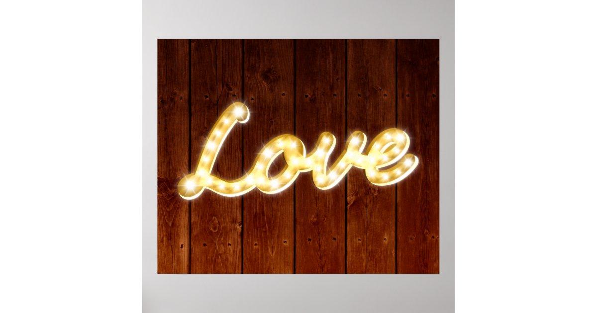 Vintage Marquee Lights Love Poster - barn board : Zazzle