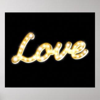 Vintage Marquee Lights Love Poster - black