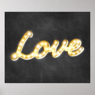 Vintage Marquee Lights Love Poster - chalkboard