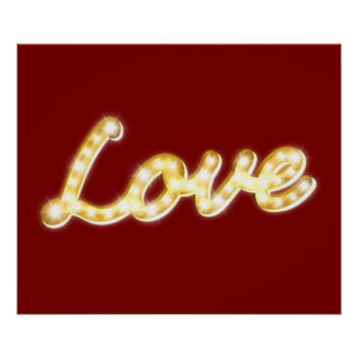 Vintage Marquee Lights Love Poster - red