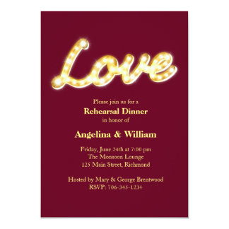 Vintage Marquee Lights Rehearsal Dinner Invite