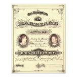 Vintage Marriage License (font Selfish) Personalized Announcement