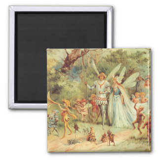 Vintage Marriage of Thumbelina and Prince 2 Inch Square Magnet