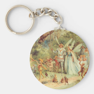 Vintage Marriage of Thumbelina and Prince Basic Round Button Keychain