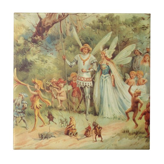 Vintage Marriage of Thumbelina and Prince Ceramic Tile