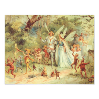 Vintage Marriage of Thumbelina and Prince 4.25x5.5 Paper Invitation Card
