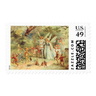 Vintage Marriage of Thumbelina and Prince Stamps