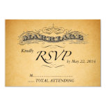 Vintage Marriage Paper Wedding Invitation RSVP