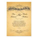 Vintage Marriage Text Damask Wedding Invitations