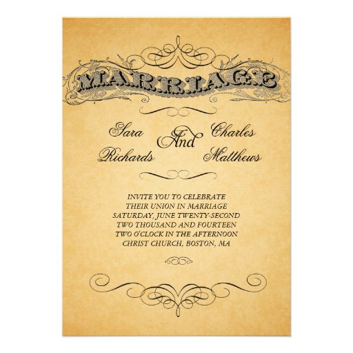 "Vintage Marriage Text Wedding Invitations 5"" X 7"